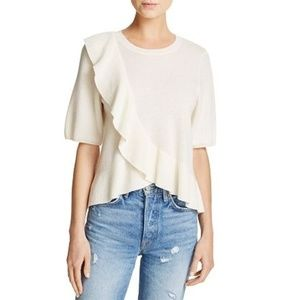 Joie Jayni Cashmere Ruffle Short Sleeve Sweater XS